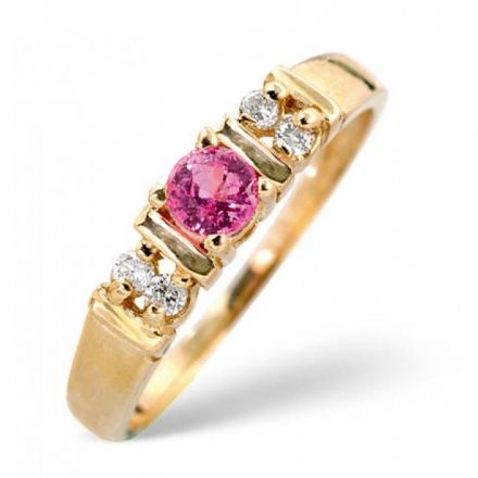 18K Gold 0.10ct Diamond & 3.75mm Pink Sapphire Ring, DCR16-PS